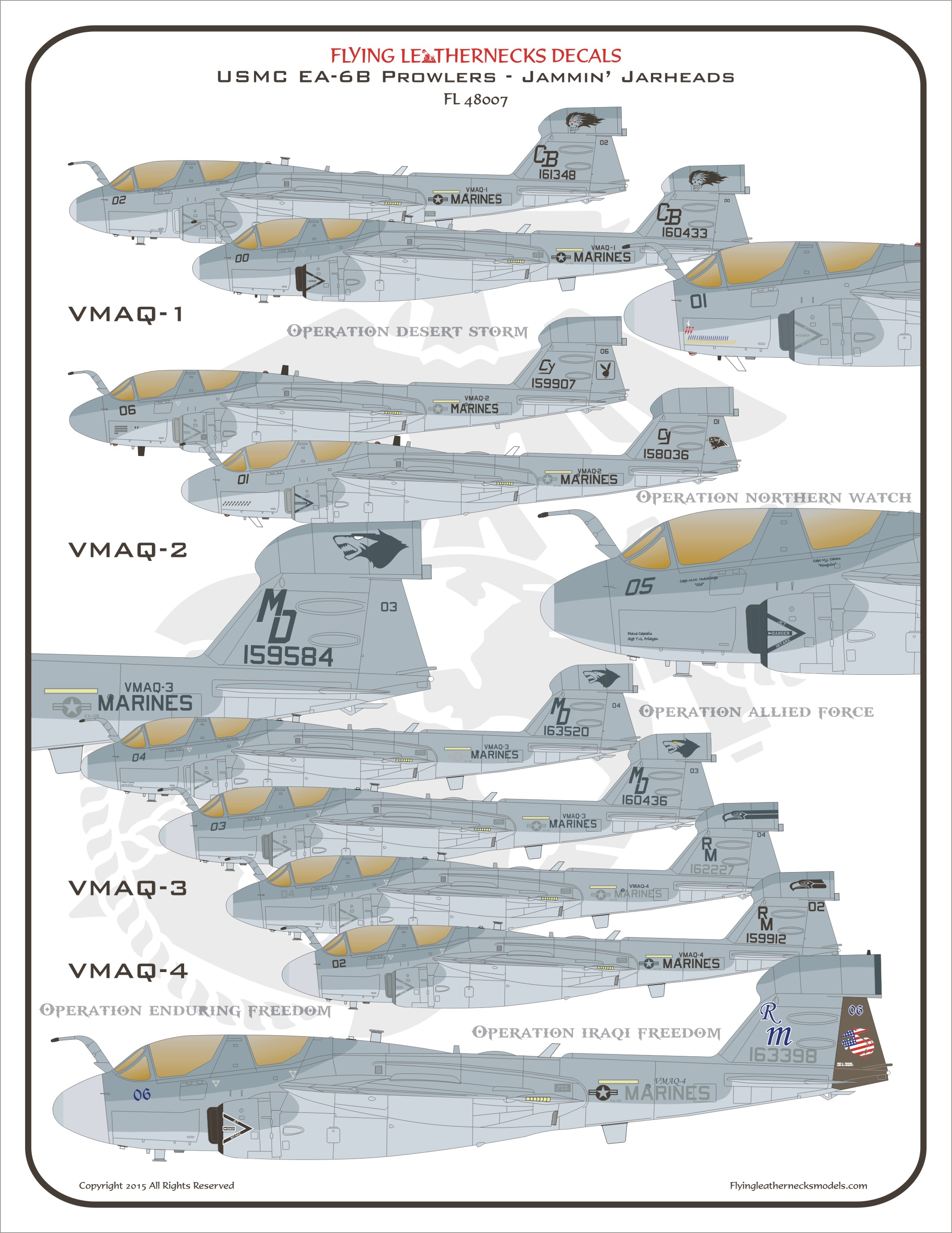 Flying Leathernecks Decals 1//48 GRUMMAN EA-6B PROWLER Jammin/' Jarheads