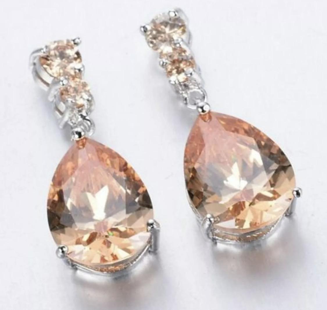 EAR-186 925 Sterling silver Filled Morganite huggie earrings