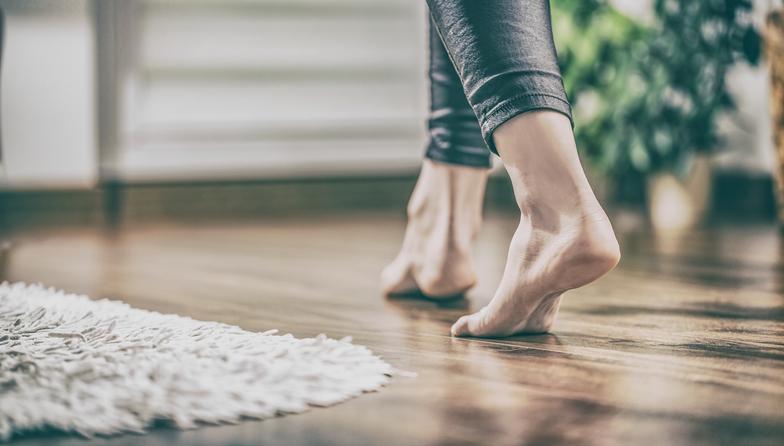walking on a hardwood floor