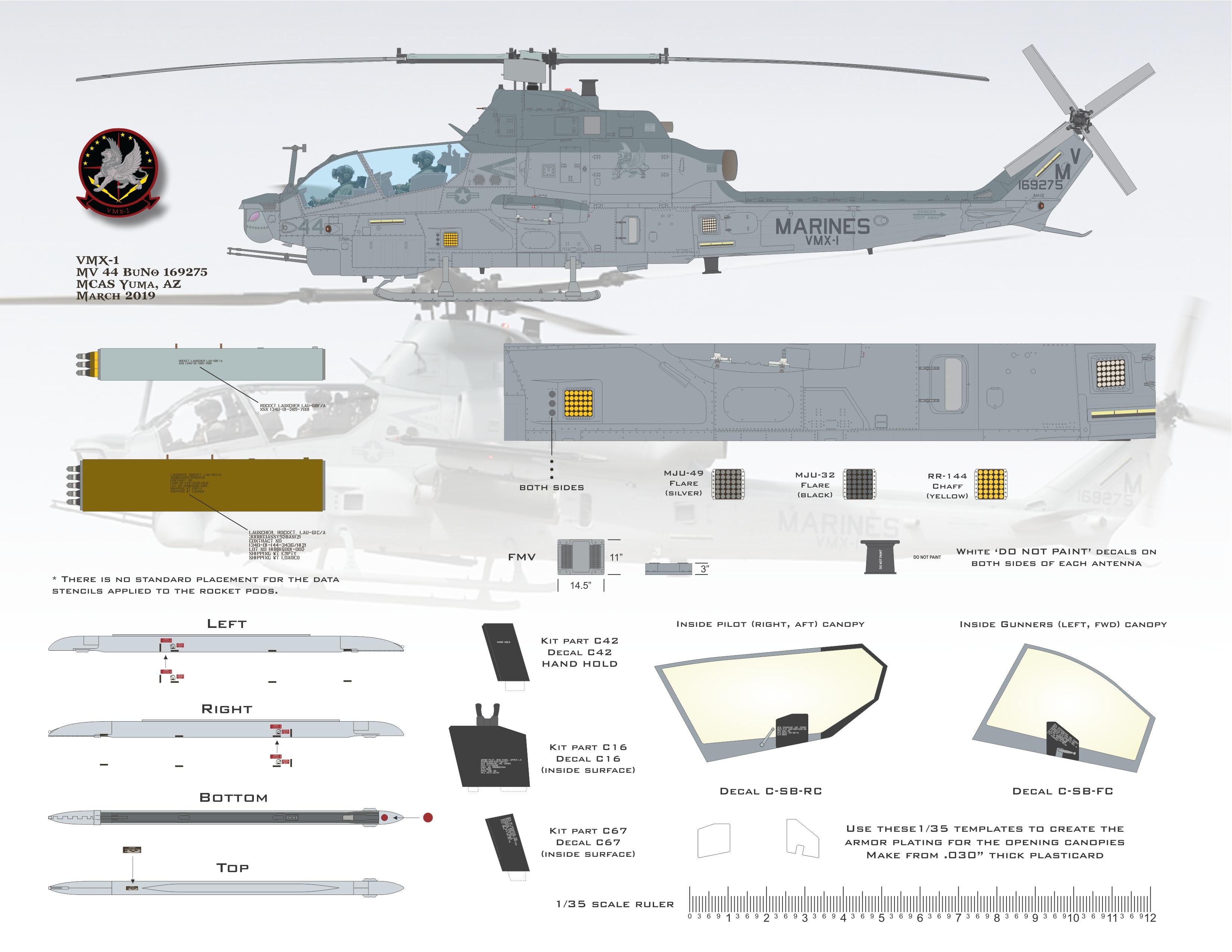AH-1Z AH-6 UH-1Y Flying Leathernecks FL35-5002 1//35 LAU-68F//A APKWS empty