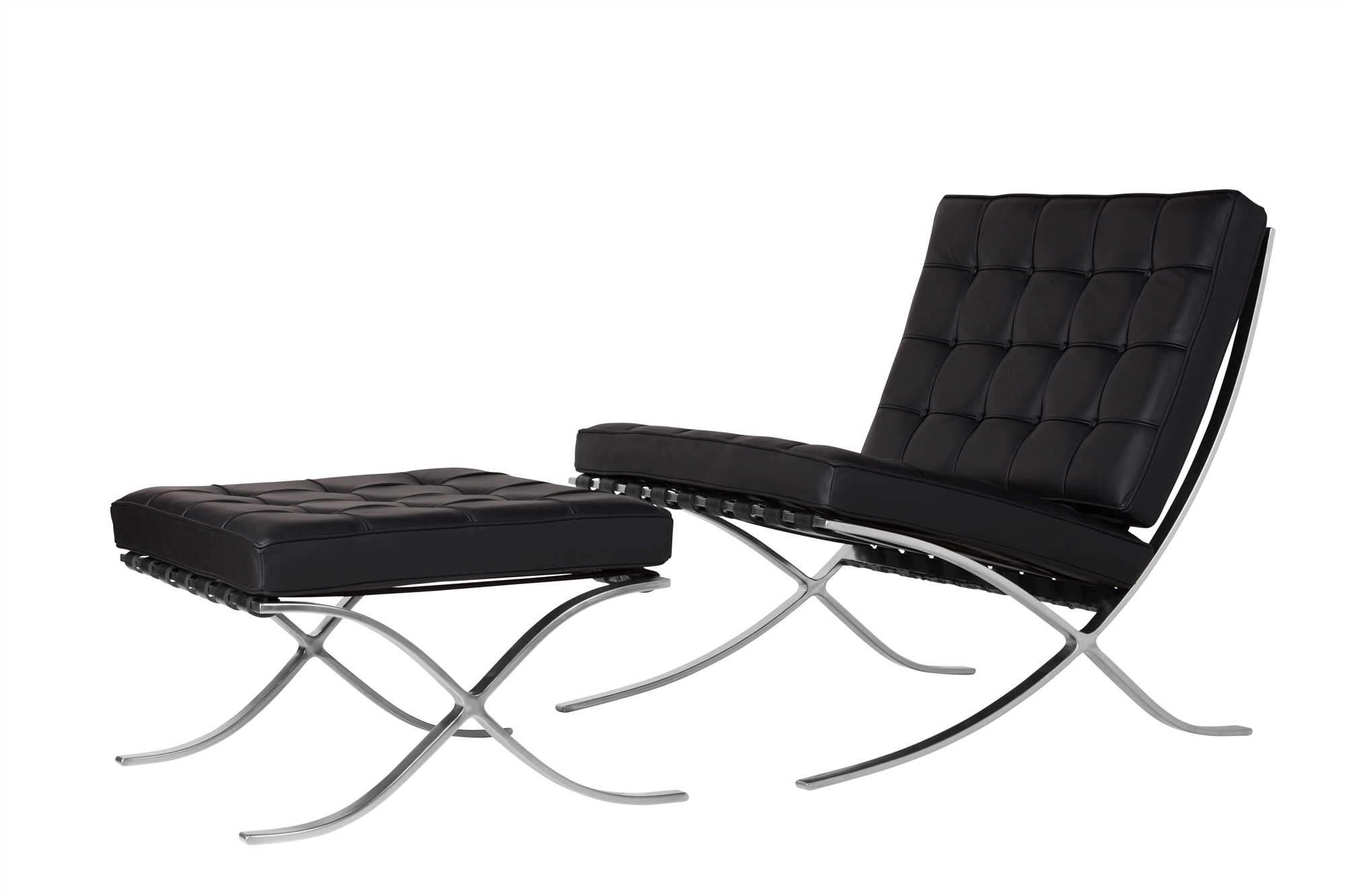barcelona chair ottoman black leather brushed chrome barcelona chair ottoman black leather brushed chrome