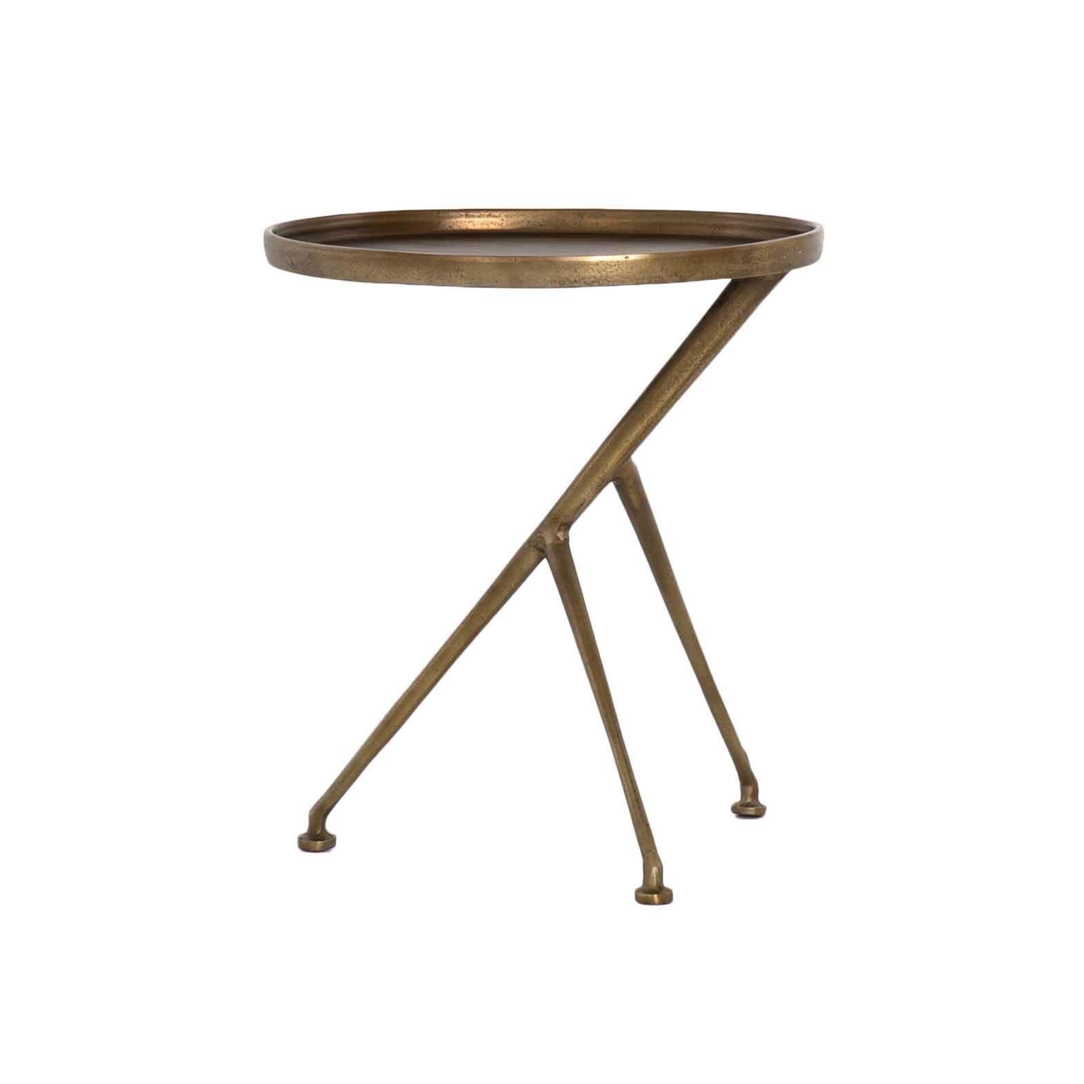 - Schmidt Accent Table, Raw Brass, The Khazana Furniture Store