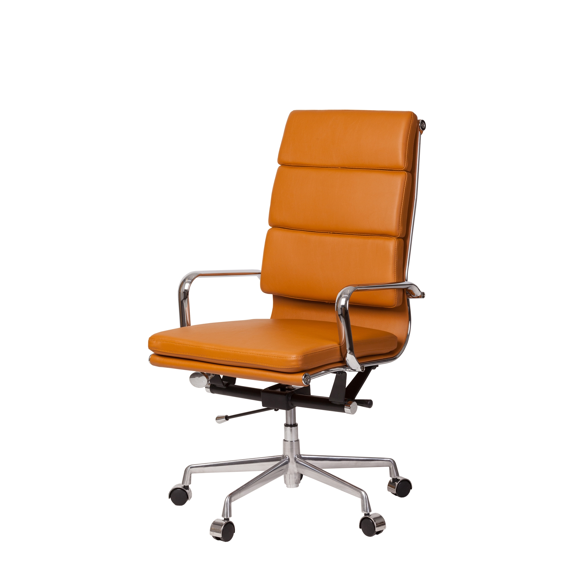 Picture of: Mid Century Modern High Back Office Chair In Basketball Brown Leather