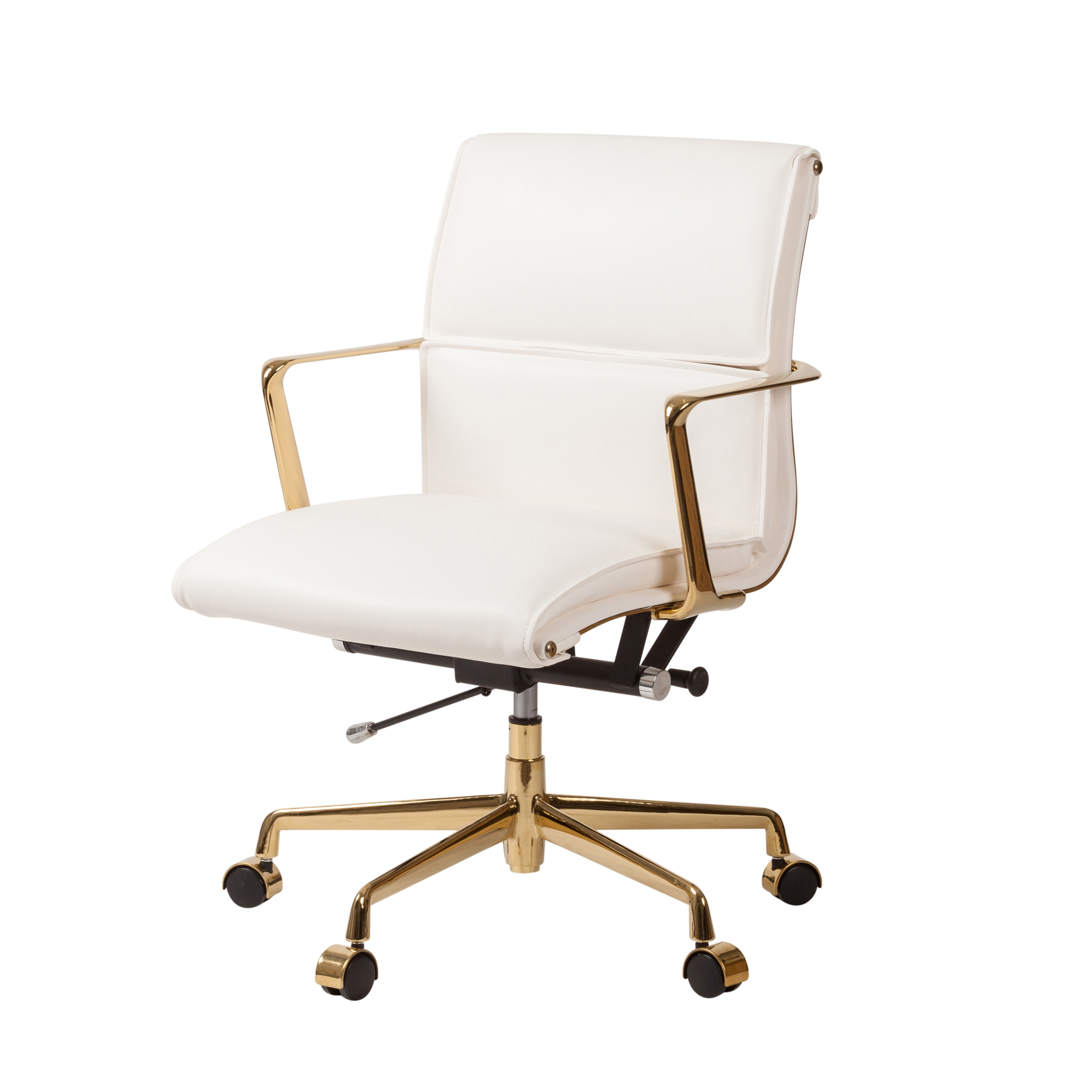 Cooper Mid Century Modern Office Chair With Gold Base White Leather