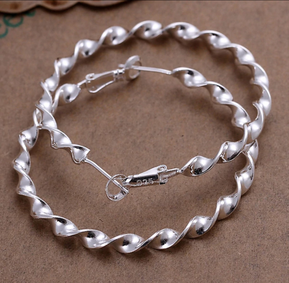 fb01f2301863a Twist Hoop Earrings 925 Pure Silver Prada princo