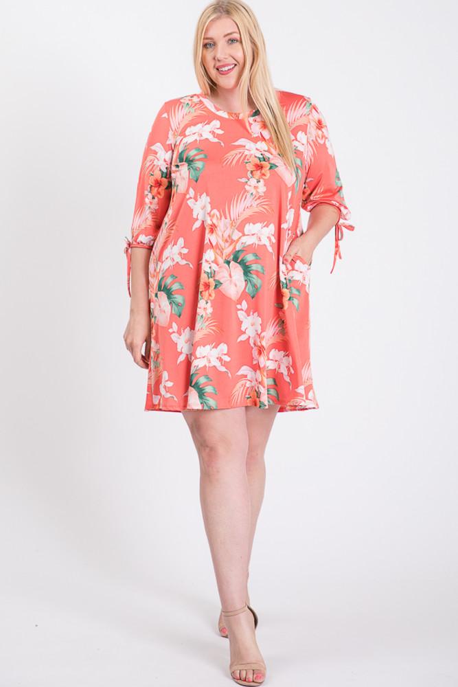 D3137C Plus Size Bubble Sleeved Tropical Mini Dress 2-2-2 unit 12.50