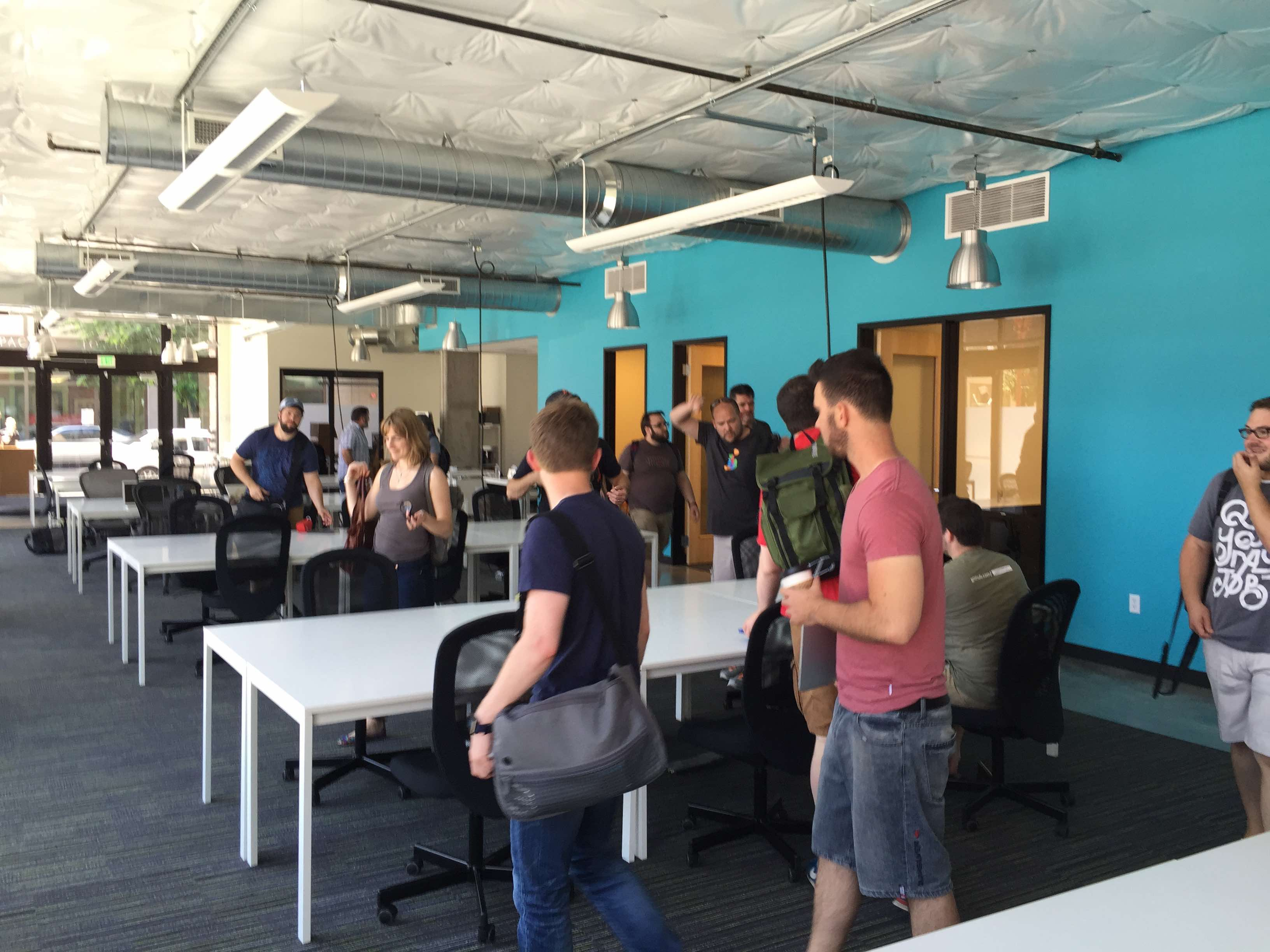Composers arriving at the Oregon Storyboard co-working space