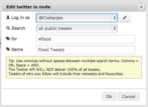 Configuring the incoming Twitter node