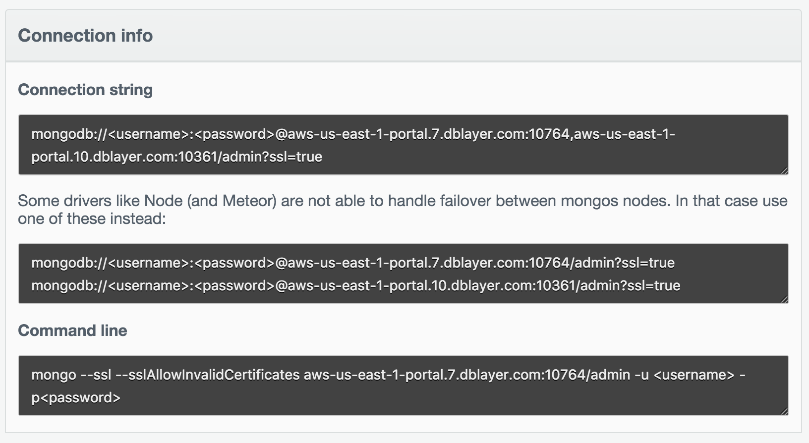Deployment View Connection Strings