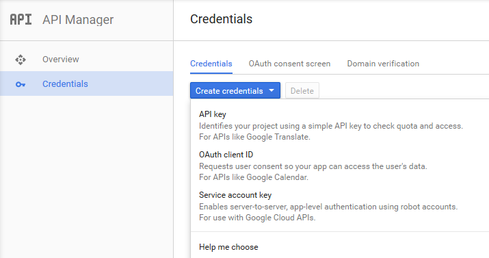 Google API credentials