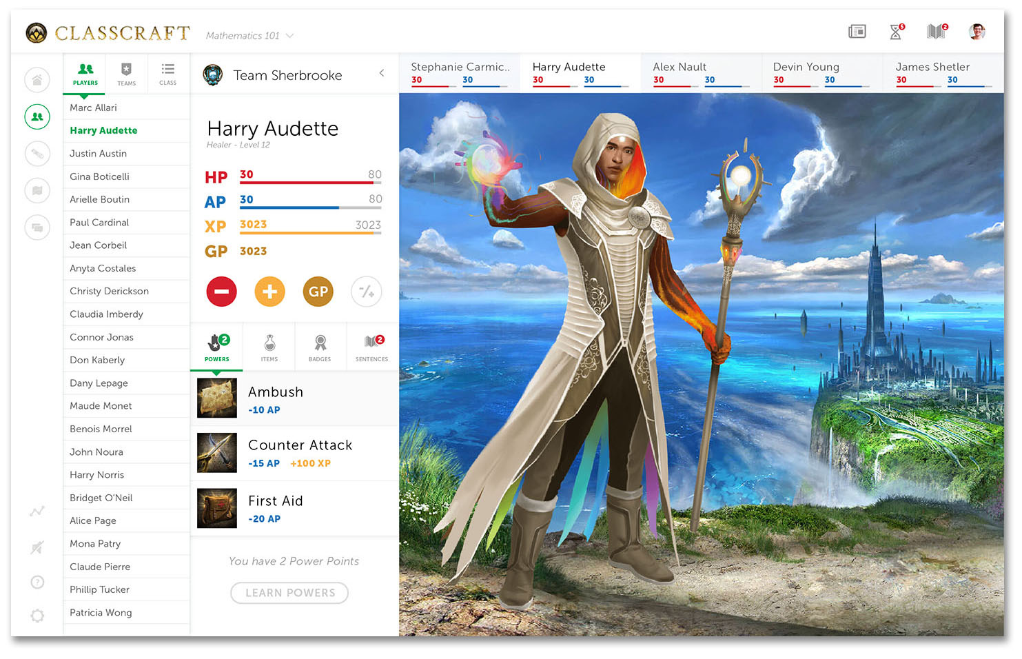 Classcraft Dashboard Screenshot