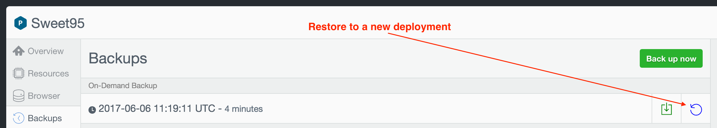 Restore to a new deployment