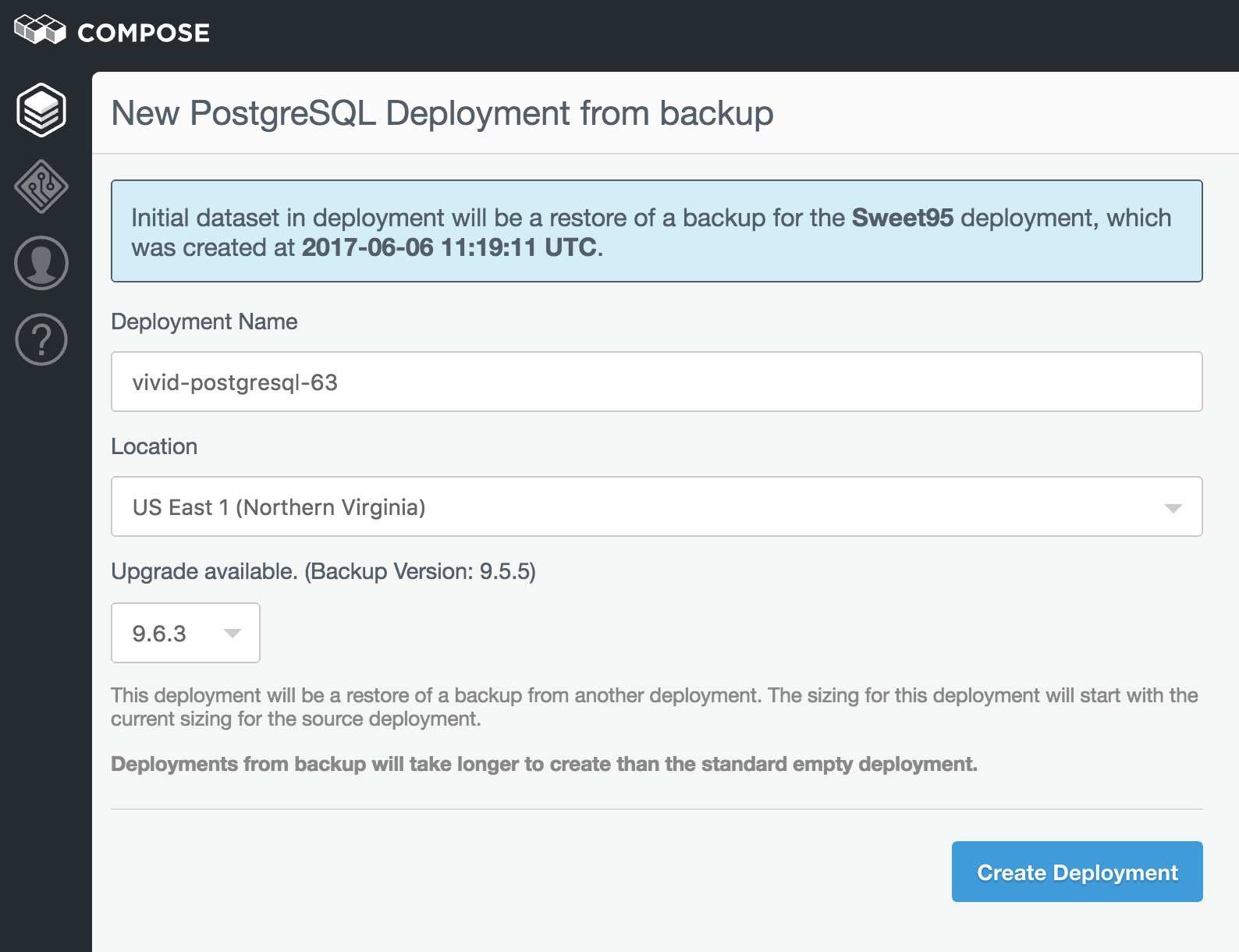 New PostgreSQL Deployment from backup