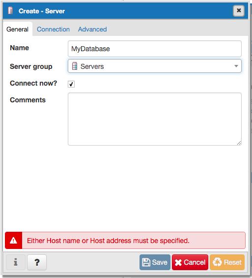 Create Server Dialog General Tab