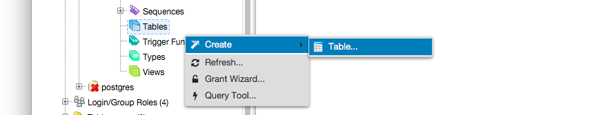 Create Table Contet Menu