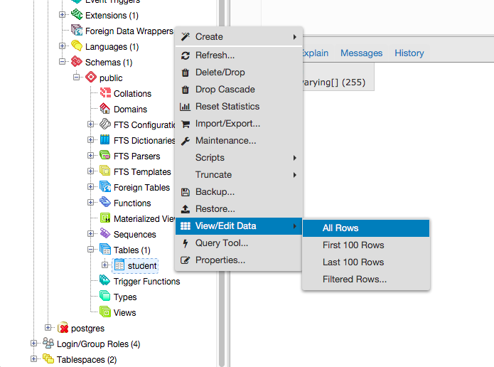 View / Edit Data Context Menu
