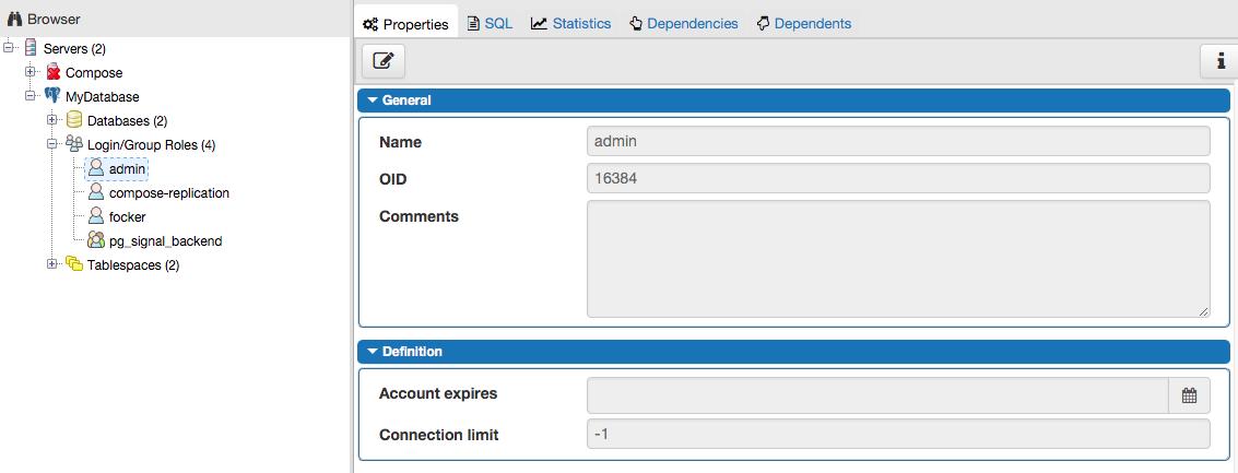 Database User Info