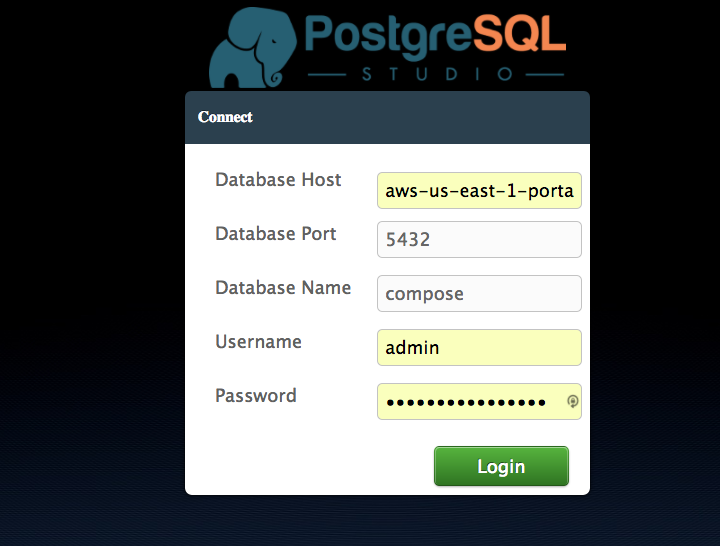 PostgreSQL Studio Login Page