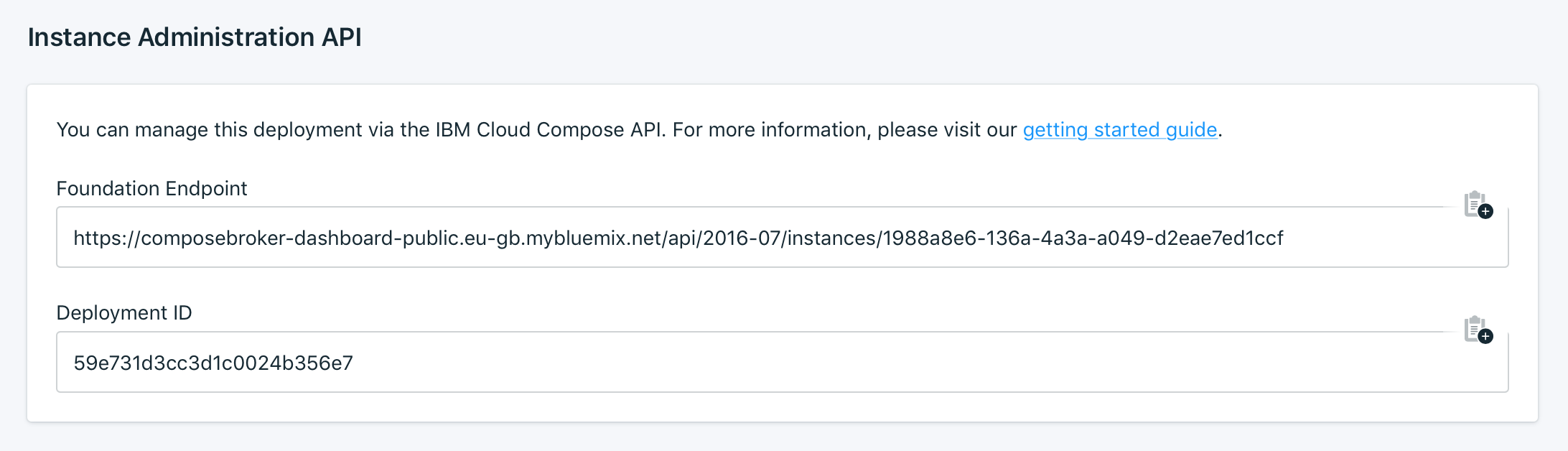 Instance Administration API Panel