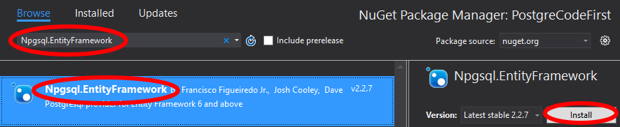 Add Npgsql.EntityFramework NuGet package