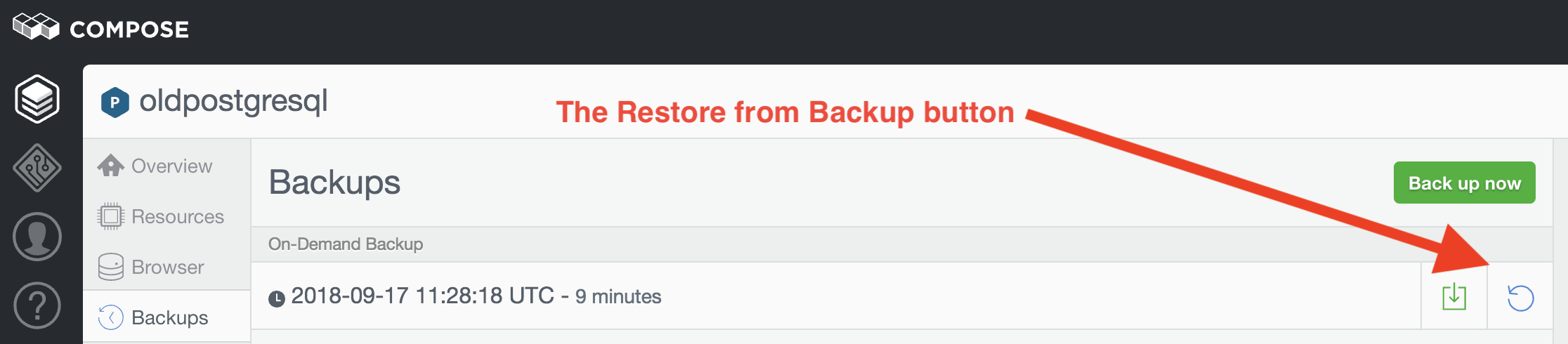 Restore from Backups