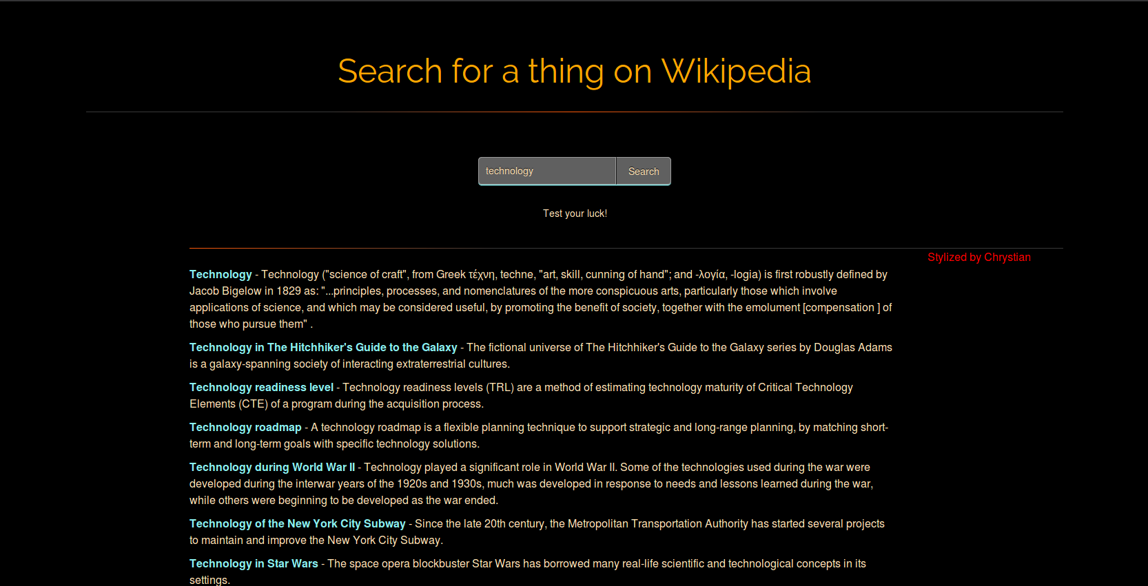 Wikipedia search WebApp