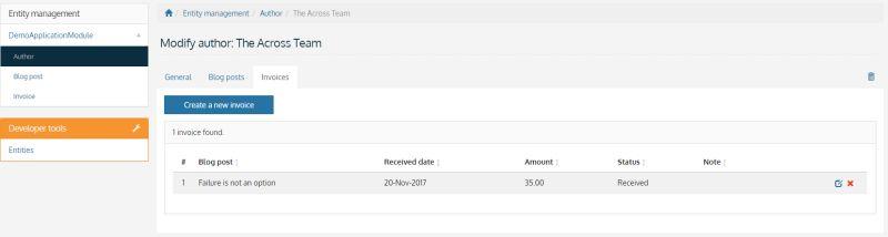 Invoice tab