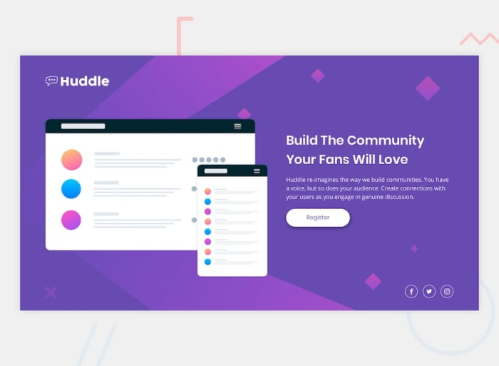 Desktop design screenshot for the Huddle landing page with a single introductory section coding challenge