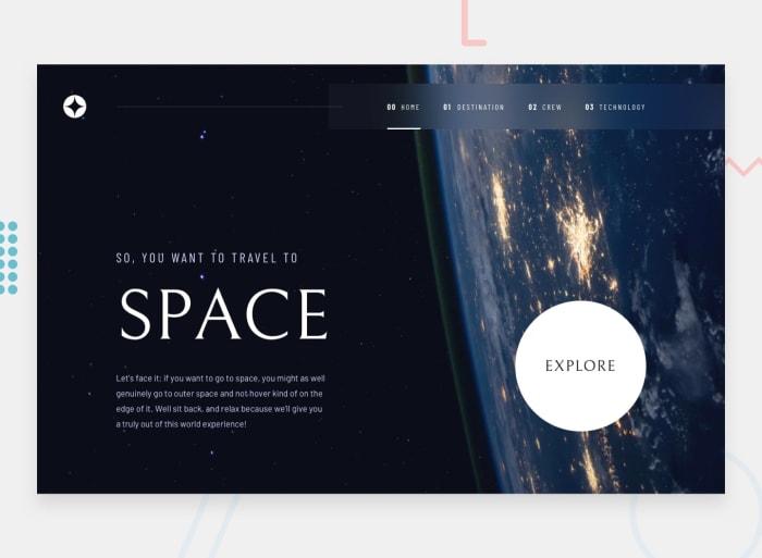 Desktop design screenshot for the Space tourism multi-page website coding challenge