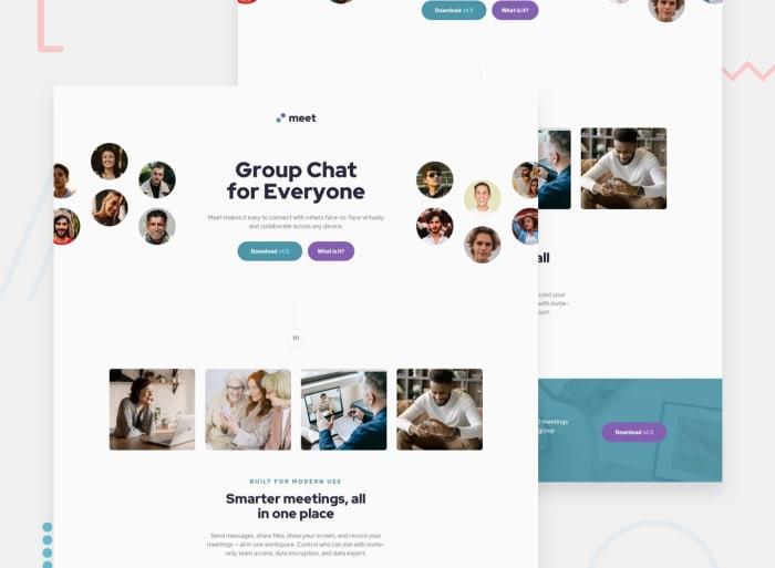 Desktop design screenshot for the Meet landing page coding challenge
