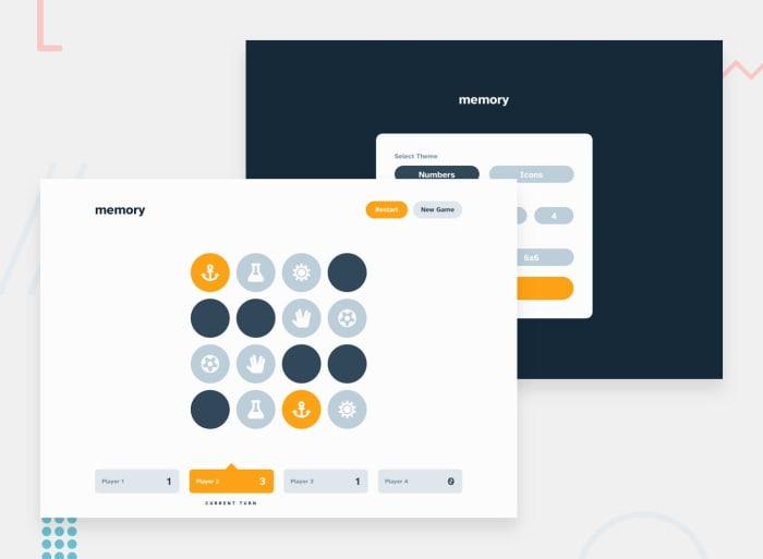 Desktop design screenshot for the Memory game coding challenge