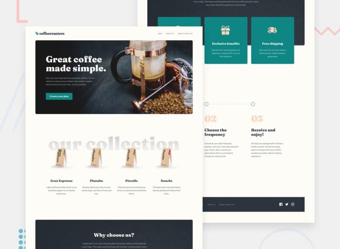 Desktop design screenshot for the Coffeeroasters subscription site coding challenge