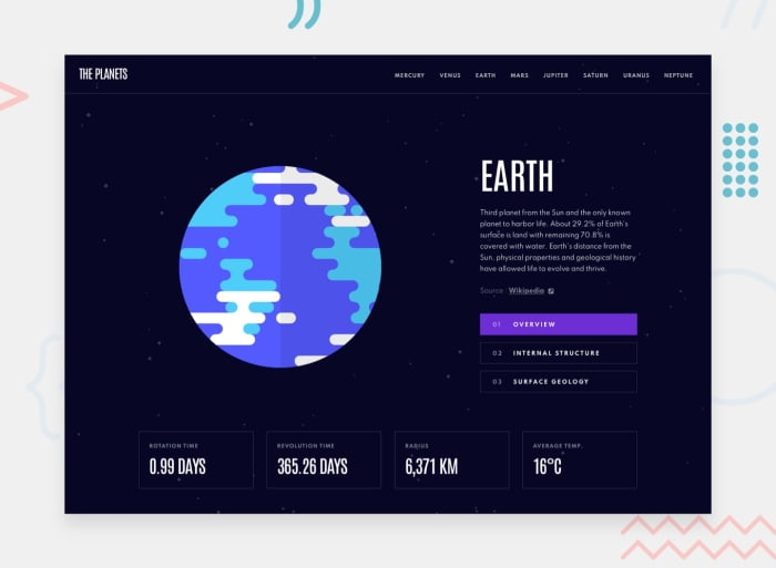 Desktop design screenshot for the Planets fact site coding challenge