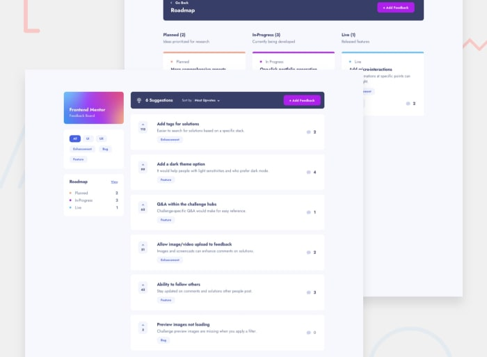 Desktop design screenshot for the Product feedback app coding challenge