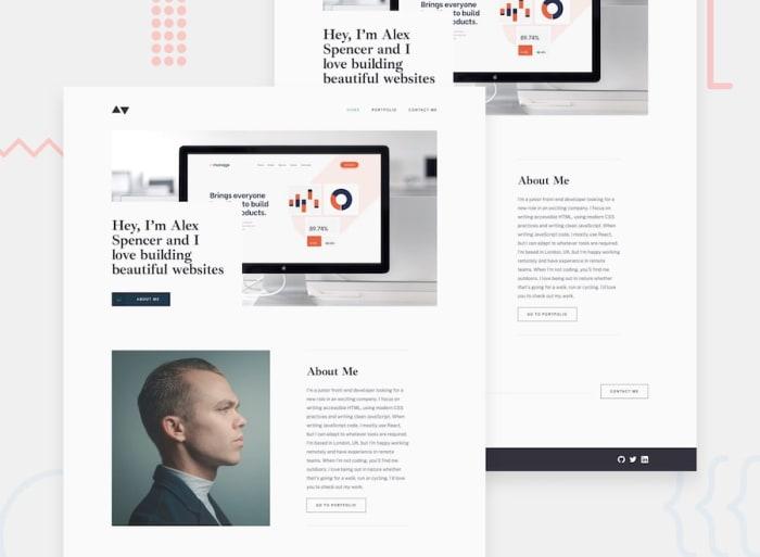 Desktop design screenshot for the Minimalist portfolio website coding challenge