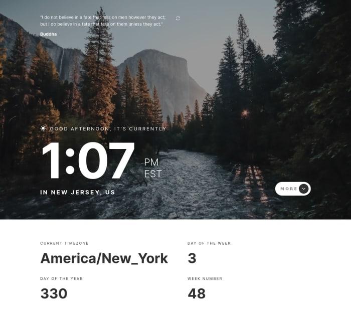 Desktop design screenshot for the Clock app coding challenge