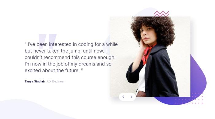 Desktop design screenshot for the Coding bootcamp testimonials slider coding challenge