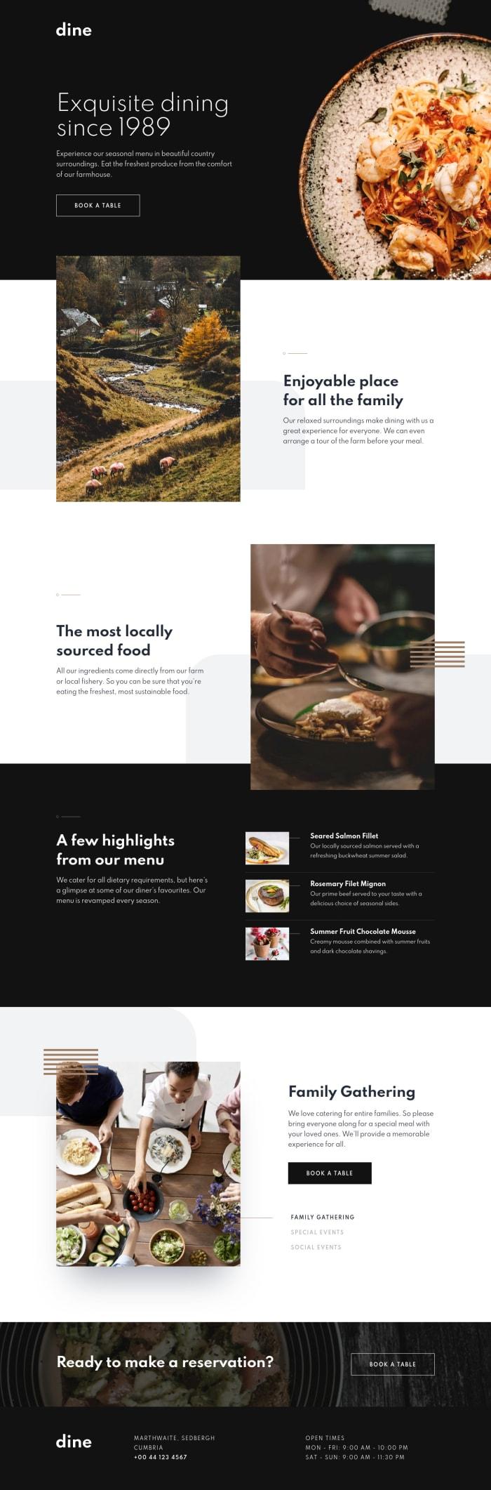 Desktop design screenshot for the Dine restaurant website coding challenge