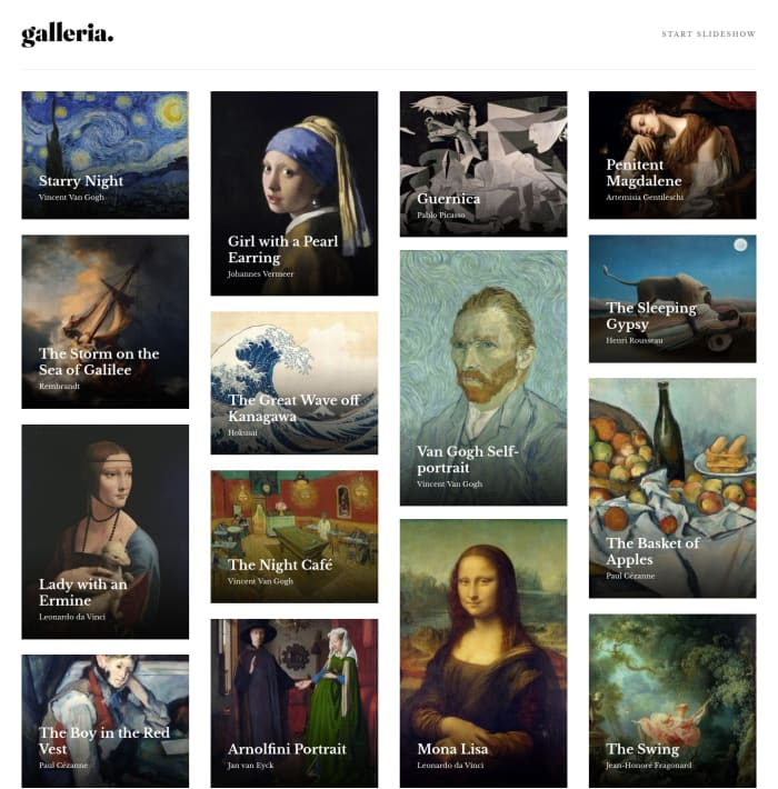 Desktop design screenshot for the Galleria slideshow site coding challenge