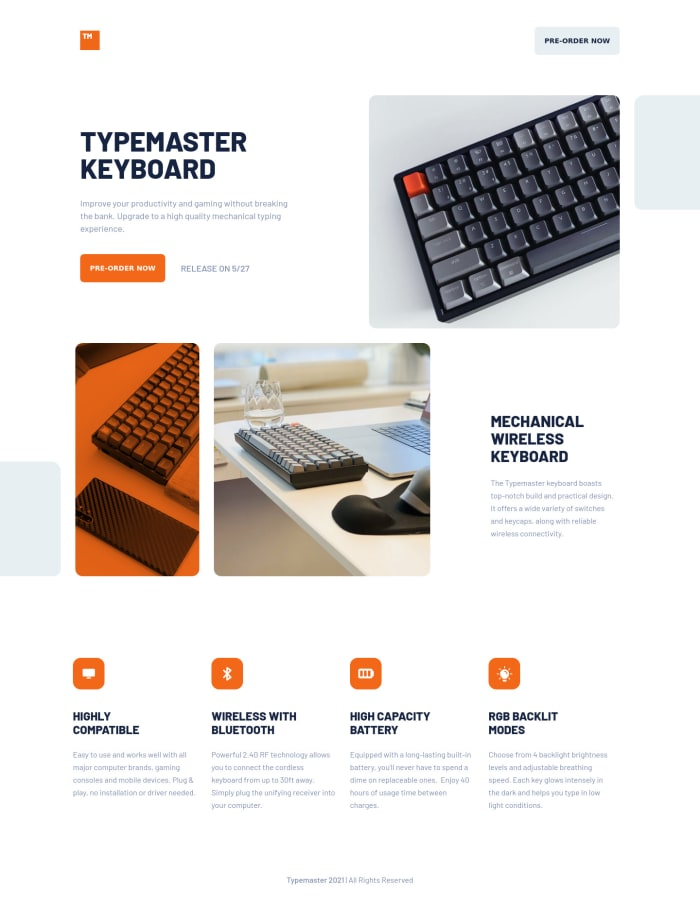 Desktop design screenshot for the Typemaster pre-launch landing page coding challenge