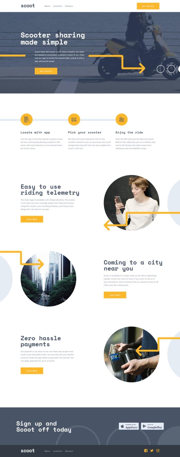 Desktop design screenshot for the Scoot multi-page website coding challenge