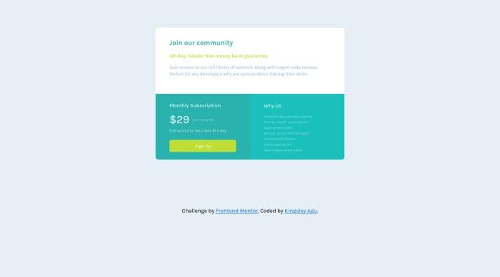 Desktop design screenshot for the Single price grid component coding challenge