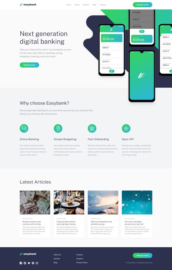 Desktop design screenshot for the Easybank landing page coding challenge