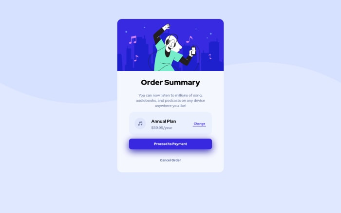 Desktop design screenshot for the Order summary component coding challenge
