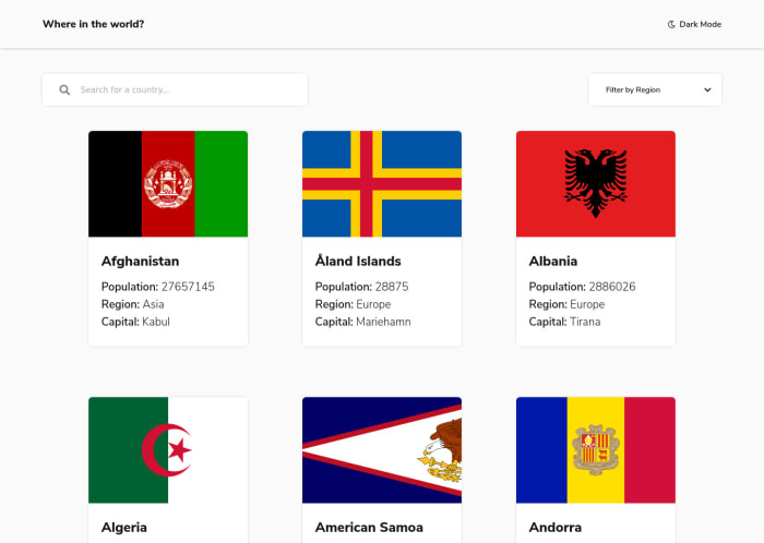 Desktop design screenshot for the REST Countries API with color theme switcher coding challenge