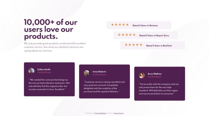 Desktop design screenshot for the Social proof section coding challenge