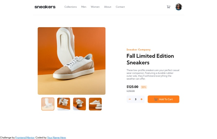 Desktop design screenshot for the E-commerce product page coding challenge