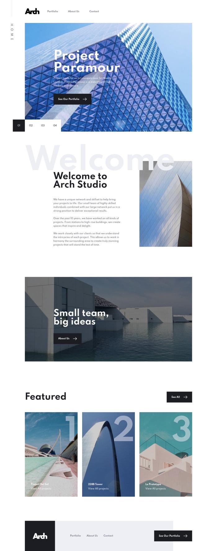 Desktop design screenshot for the Arch Studio multi-page website coding challenge