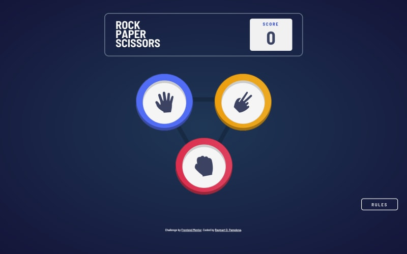 Desktop design screenshot for the Rock, Paper, Scissors game coding challenge