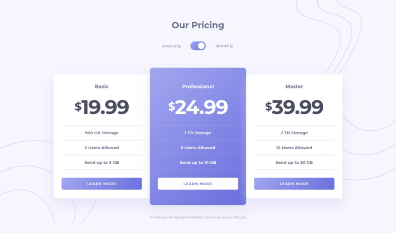 Desktop design screenshot for the Pricing component with toggle coding challenge